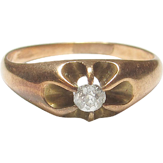 1880's Victorian 10K Yellow Gold 0.10 Ct Mine Cut Diamond Solitaire Ring