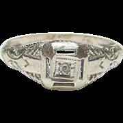 1930's Vintage 14K White Gold 0.01 Ct Single Cut Diamond Filigree Ring