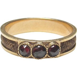1880's Victorian 10K Yellow Gold Natural Red Garnet And Hair Ring 0.60 Cts