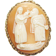 1940's Vintage 10K Yellow Gold Hand Carved Woman Giving Water To Man Shell Cameo Brooch/Pendant