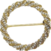 1910's Edwardian 10K Yellow Gold Natural Seed Pearl Circle Brooch