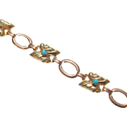 1940's Vintage 10K Rose And Yellow Gold Natural Blue Turquoise Bracelet