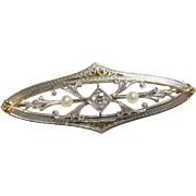 1900's Edwardian 14K Yellow Gold And Platinum 0.06 Ct European Cut Diamond Seed Pearl Brooch