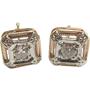 1930's Vintage 14K Yellow And White Gold European Cut Diamond Stud Earrings 0.16 Cts