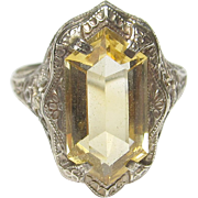 1930's Vintage 14K White Gold 5.00 Ct Natural Orange Citrine Filigree Ring