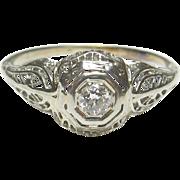 1930's Vintage 18K White Gold 0.10 Ct European Cut Diamond Filigree Ring