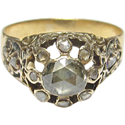1870's Victorian 14K Yellow Gold 0.40 Ct Rose Cut Diamond Ring 0.50 Cts Total