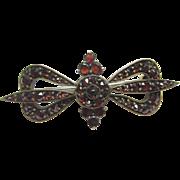 1930's Vintage Gold Filled Old Cut Natural Red Garnet Bow Brooch 5.00 Cts