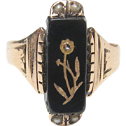1880's Victorian 14K Yellow Gold Rose Cut Diamond, Natural Pearl And Onyx Flower Ring