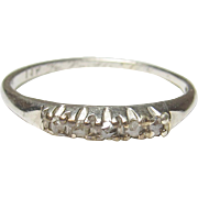 Little 1930's Vintage 14K White Gold Rose Cut Diamond Band Style Ring 0.05 Cts