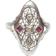 1930's Vintage 14K White Gold Single Cut Diamond And Ruby Filigree Ring 0.06 Cts