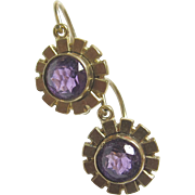 1940's Vintage 8K Yellow Gold Natural Round Purple Amethyst Drop Earrings 1.00 Ct