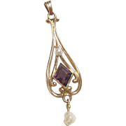 1880's Victorian 10K Yellow Gold 0.75 Ct Natural Purple Amethyst And Pearl Lavaliere Pendant