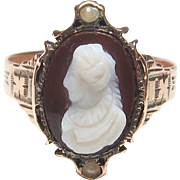 1880's Victorian 14K Yellow Gold Hand Carved Lady Agate Stone Cameo And Pearl Ring