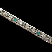 1930's Vintage 10K White Gold European Cut Diamond Chatham Emerald Filigree Bracelet 0.08 Cts
