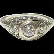 1930's Vintage 14K White Gold 0.12 Ct European Cut Diamond Filigree Ring 0.18 Cts TW