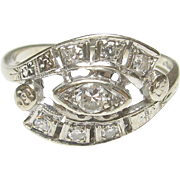 1940's Vintage 14K White Gold 0.08 Ct Brilliant Cut Diamond Ring 0.20 Cts Total