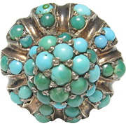 1870's Victorian 10K Yellow Gold Natural Green And Blue Turquoise Ring 2.00 Cts