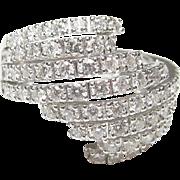 1990's Vintage 18K White Gold 72 Round Brilliant Cut Diamond Ring 1.10 Cts