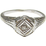 1930's Vintage 14K White Gold 0.03 Ct Old European Cut Diamond Etched Ring
