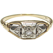 1930's Vintage 14K Yellow And White Gold 0.03 Ct Single Cut Diamond Ring