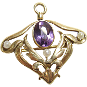 1900's Edwardian 14K Yellow Gold 1.50 Ct Natural Purple Amethyst And Pearl Pendant/Brooch