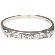 1930's Platinum Baguette And Single Cut Diamond Band Style Ring 0.15 Cts