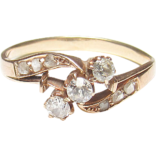 1890's Victorian 14K Yellow Gold Mine And Rose Cut Diamond Ring 0.25 Cts