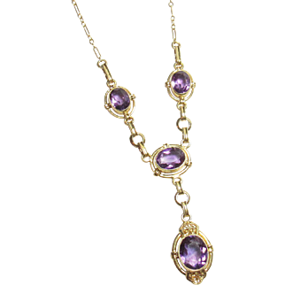 1930's Vintage 14K Yellow Gold Natural Oval Purple Amethyst Necklace 4.25 Cts