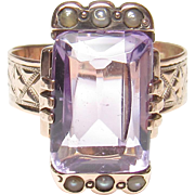 1870's Victorian 10K Rose Gold 4.00 Ct Natural Purple Amethyst And Seed Pearl Ring