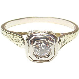 1930's Vintage 14K Yellow And White Gold 0.16 Ct European Cut Diamond Solitaire Ring