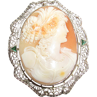 1930's Vintage 14K White Gold Hand Carved Bust Of Woman Shell Cameo Filigree Brooch/Pendant