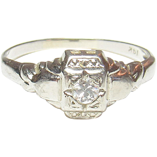 1930's Vintage 14K White Gold 0.08 Ct European Cut Diamond Solitaire Ring