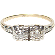 1930's Vintage 14K Yellow And White Gold Single And European Cut Diamond Ring 0.15 Cts