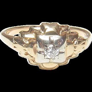 14K Yellow And White Gold 0.06 Ct European Cut Diamond Ring 1930's Vintage
