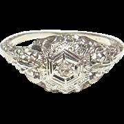 1930's Vintage 18K White Gold 0.02 Ct Single Cut Diamond Filigree Ring