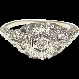 18K White Gold 0.02 Ct Single Cut Diamond Filigree Ring 1930's Vintage