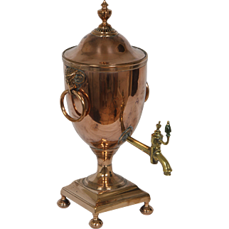 A Regency copper hot water urn