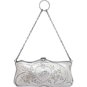 Antique Sterling Silver Art Nouveau Engraved Purse/ Chatelaine Bag by E. J. Trevitt & Sons, C1907