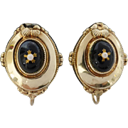 Antique Victorian 14ct 14K Gold Decorative Black & White 'Carbuncle' Earrings, 9k gold Screw Fitting