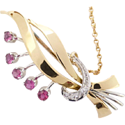 Fabulous Vintage Ruby & Diamond Floral Spray Brooch w/Safety Chain, c1950