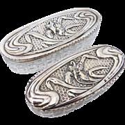 Pair of Art Nouveau Oval Dresser Jar Sterling Silver Hobnail Cut Glass, c1904