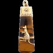 Antique Australian 9ct Gold Tiger Eye Kangaroo Pendant/ Watch Fob by Willis & Co