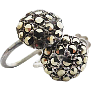 Pair of Vintage Sterling Silver Marcasite Encrusted Dome Earring