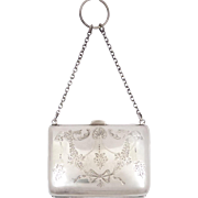 Antique~Vintage c1916 English Sterling Silver Chatelaine Purse by E J Houlston