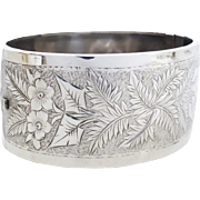 Victorian c1880 Sterling Silver Wide Bangle- Stunning Fern, Ivy & Flower Engraving