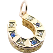 Victorian 15K 15ct Gold Petite Sapphire and Diamond 'Lucky' Horseshoe Pendant or Charm