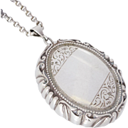 Vintage One-of-a-Kind Sterling Silver Ornate Locket Compact Case with Belcher Necklace, 62.1gms