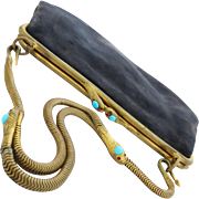 Vintage Art Deco c 1920 Serpent Detailed Purse set with Turquoise & Red Jewels
