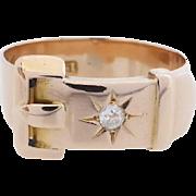 Antique Victorian 15k Rose Gold Diamond Buckle Ring, circa 1890